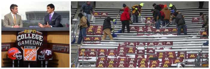 Typical Gameday in the South, while students shovel snow out of the Minnesota stadium prior to last Saturday's game!